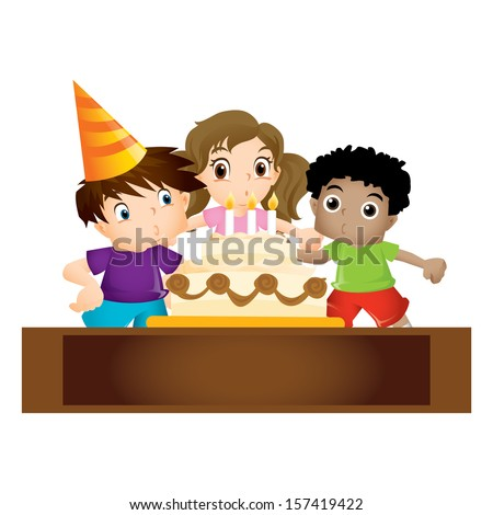Group of children blowing at a birthday cake - stock photo