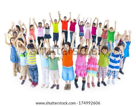 Group of Children Celebrating - stock photo