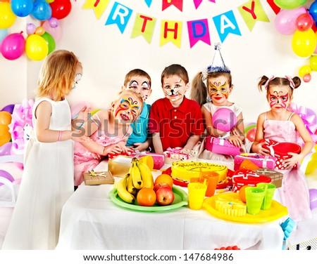 Group of children happy birthday party . - stock photo