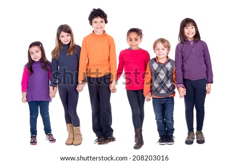 Group of children holding hands isolated in white