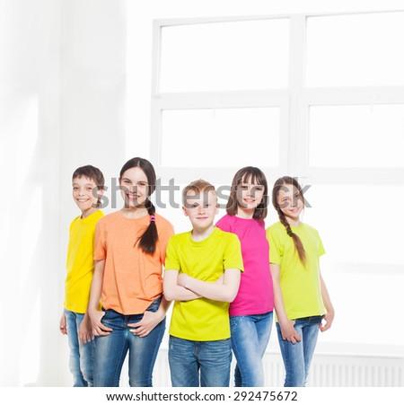 Group of children in school. Happy schoolchild - stock photo