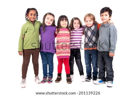 Group of children isolated in white