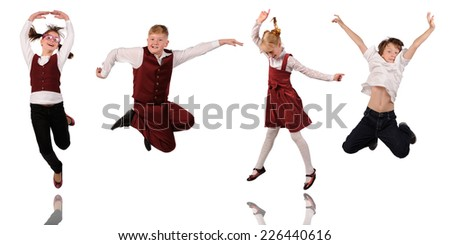 Group of children jumping isolated in white  - stock photo