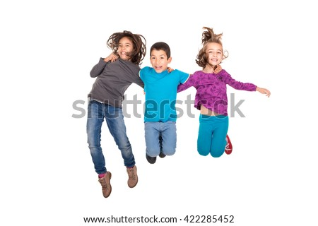 Group of children jumpng isolated in white - stock photo