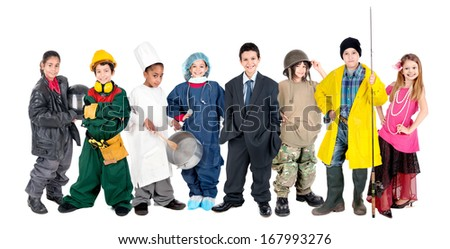 Group of children posing with different costumes isolated in white - stock photo