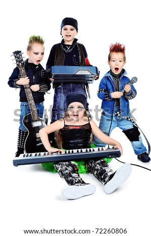 Group of children singing in heavy metal style. Shot in a studio. Isolated over white background. - stock photo