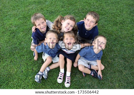 Group of children smiling and happy - stock photo