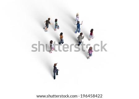 Group of children walking, 3D rendering - stock photo