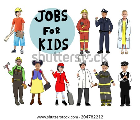 Group of Children with Professional Occupation Concept - stock photo