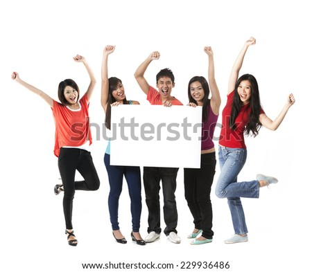 Group of 6 Chinese people with a banner ad. Isolated on white background. - stock photo