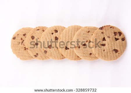 Group of  chocolate chip biscuits,