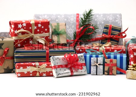 Group of christmas gifts