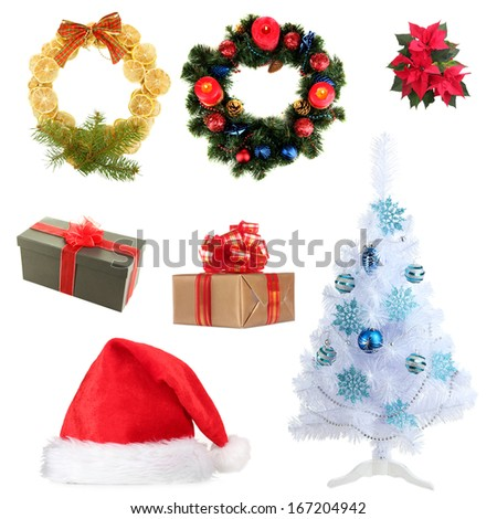 Group of Christmas objects isolated on white - stock photo