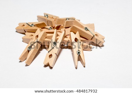 group of clothespin isolated on white