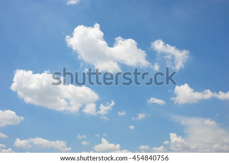 group of clouds and light blue sky for background