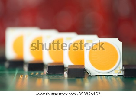 Group of COB LEDs arrays on PCB board - small DOF - stock photo