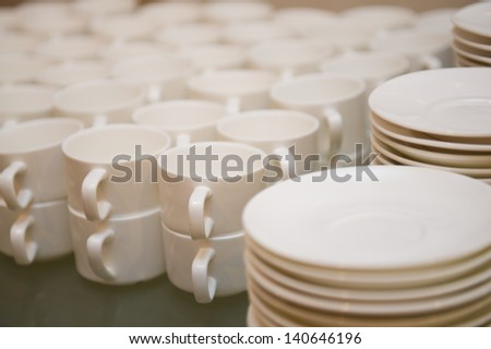 Group of coffee cups in cafe bar.