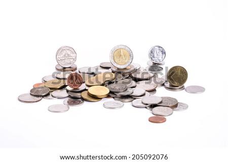 Group of coins, Thai baht on white background - stock photo