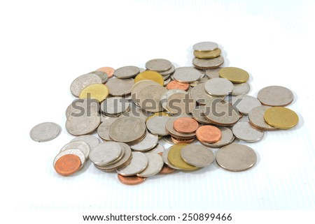 Group of coins, Thai baht on white background