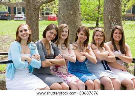 Group of College Girls - stock photo