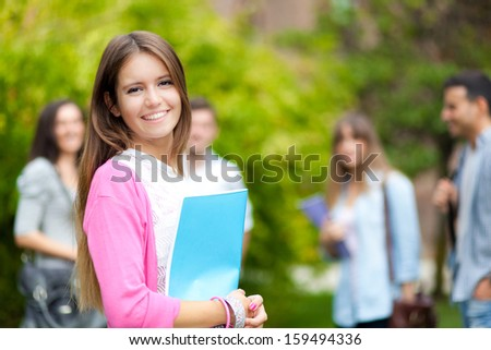 Group of college students outdoor - stock photo