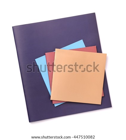 Group of color blank brochures isolated on white - stock photo