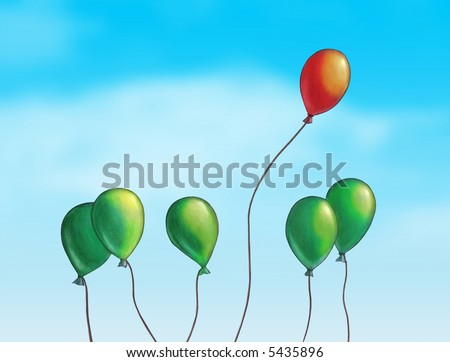 Group of colored balloons over a bright blue sky. Hand painted illustration, digitally enhanced.