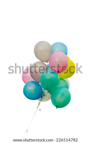 Group of colorful balloons on the white background - stock photo