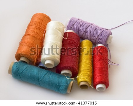 group of colorful bobbins - stock photo