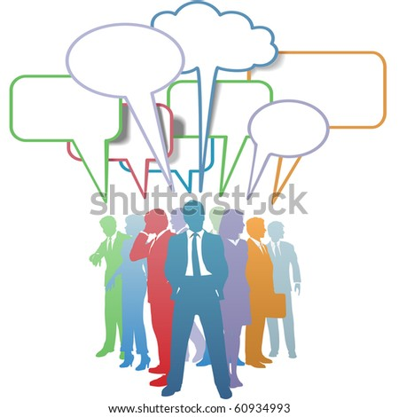 Group of colorful business people network and communicate in speech bubbles. - stock photo