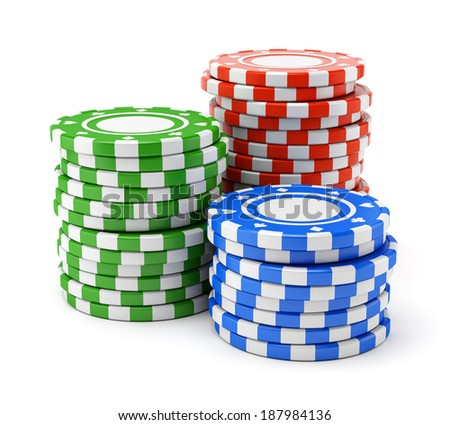 Group of colorful casino chips stacks isolated on white background