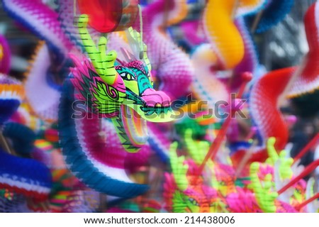 group of colorful chinese dragon toy - stock photo