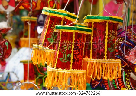 Group of colorful lantern at lantern street, Ho Chi Minh city, Vietnam, a marketplace on mid-autumn festival, lanterns is traditional toy when autumn coming - stock photo