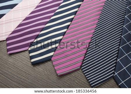 Group of colorful male ties - stock photo