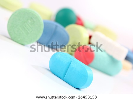 Group of colorful medicine pills, from my pharmacy series