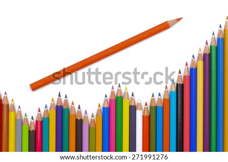 group of colorful pencil shows chart - stock photo