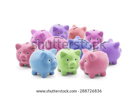 Group of colorful piggy banks  - stock photo