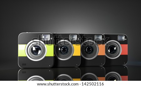 Group of colorful squared cameras. 3d illustration - stock photo
