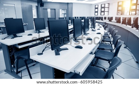 Group Computer Neatly Placed Computer Lab Stock Photo (Royalty Free)  605958425   Shutterstock