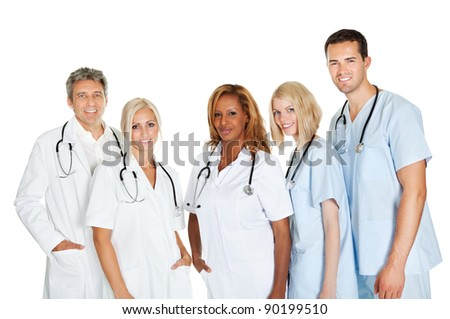 Group of confident doctors standing isolated over a white background - stock photo