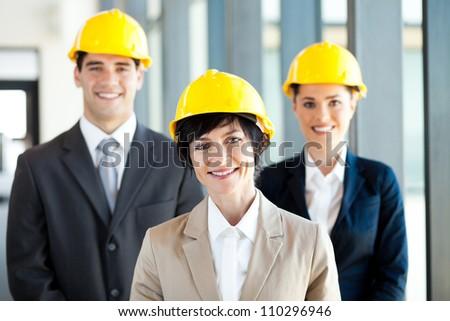 group of construction businessman and businesswoman portrait - stock photo