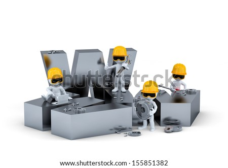 Group of construction workers/builders with WWW sign. Website building or repair concept - stock photo