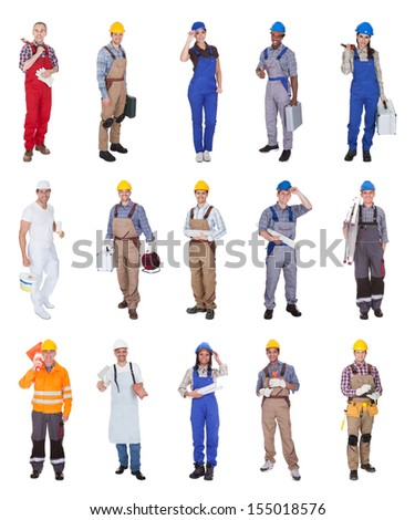 Group Of Construction Workers Standing Over White Background - stock photo