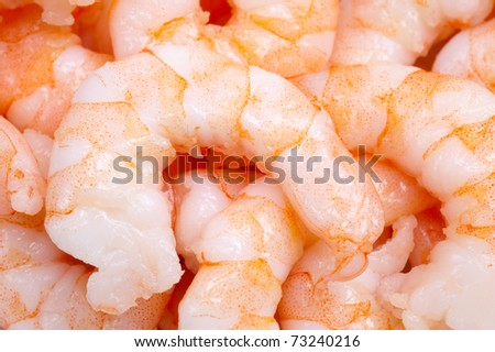 group of cooked prepared shrimp for backgrounds