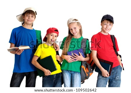 Group of cool  children in bright T-shirt on a white background - stock photo