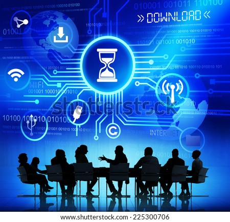 Group of Corporate People Discussing About Internet Download - stock photo