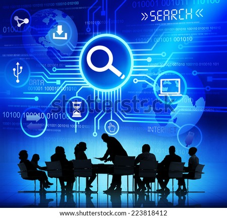 Group of Corporate People Discussing About Internet Search Optimization - stock photo