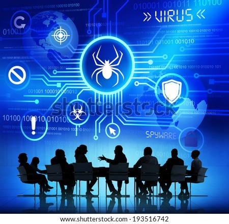 Group of Corporate People having a Meeting about Threat caused by Viruses - stock photo