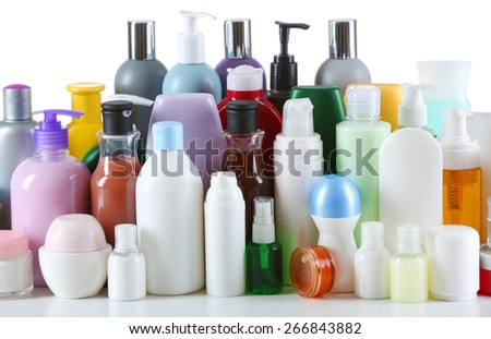 Group of cosmetic bottles isolated on white - stock photo