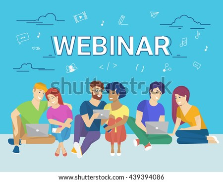 Group of creative people using laptop and tablet pc sitting on the floor and watching online webinar. Flat concept illustration of creative thinking and online webinar participating  - stock photo